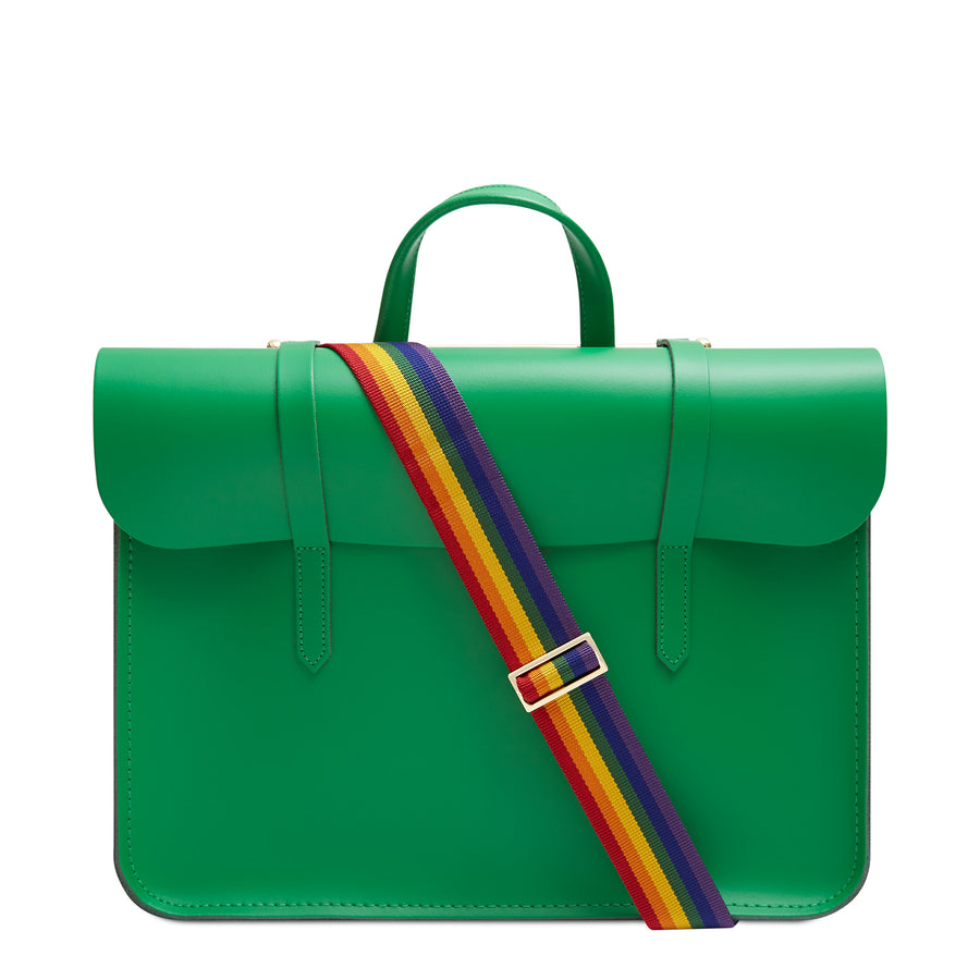 Music Case in Leather - Green with Rainbow Webbing Strap