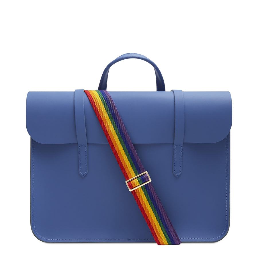 Music Case in Leather - Italian Blue Matte with Rainbow Webbing Strap