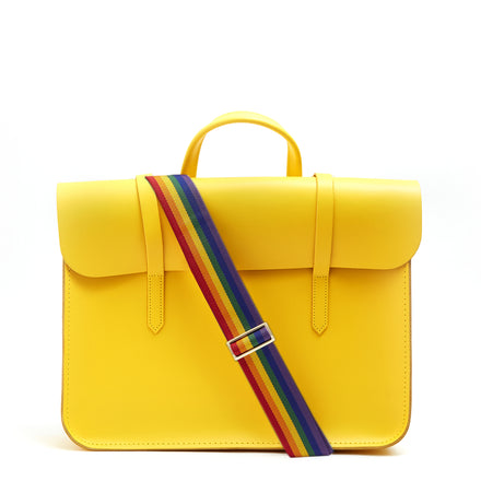 Music Case in Leather - Spectra Yellow with Rainbow Webbing Strap