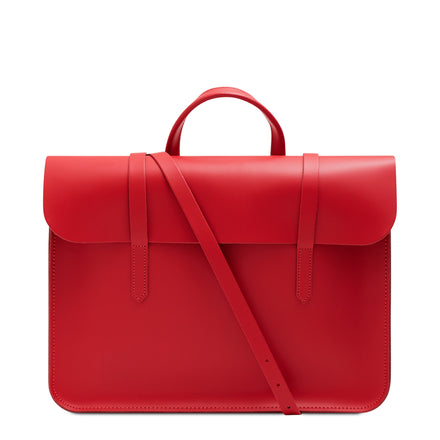 Red Cambridge Satchel Leather Music Case Bag
