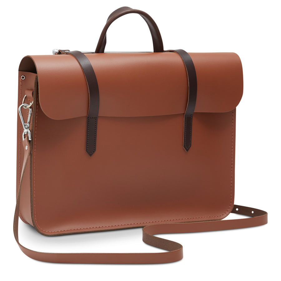 Music Case in Leather - Bay & Dark Brown