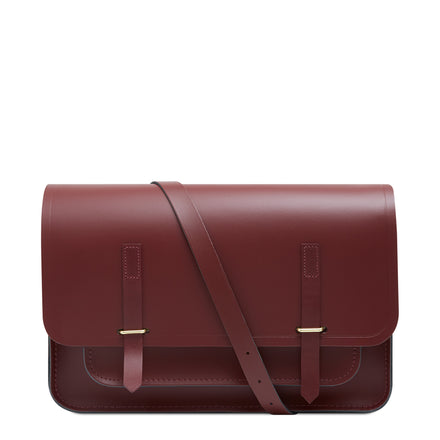 New Bridge Closure Bag in Leather - Oxblood & Burgundy | Cambridge Satchel