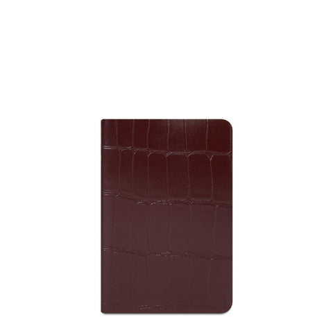 A6 Notebook in Leather - Oxblood Patent Croc