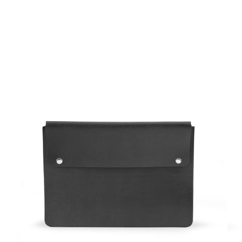 13 Inch Laptop Cover in Saffiano Leather - Black Saffiano
