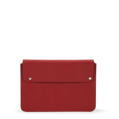 13 Inch Laptop Cover in Saffiano Leather - Red Saffiano