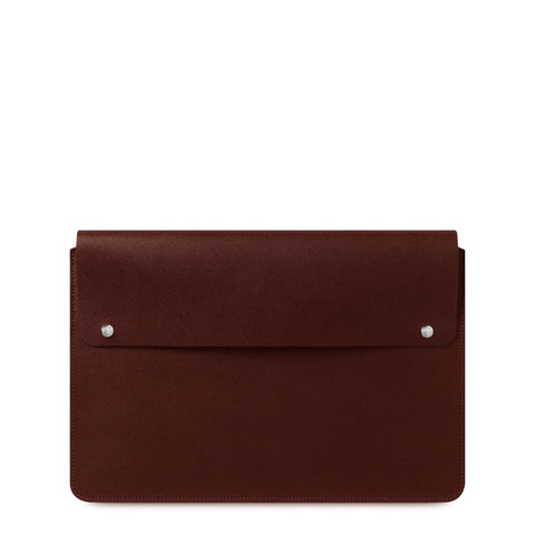 15 Inch Laptop Cover in Saffiano Leather - Oxblood Saffiano