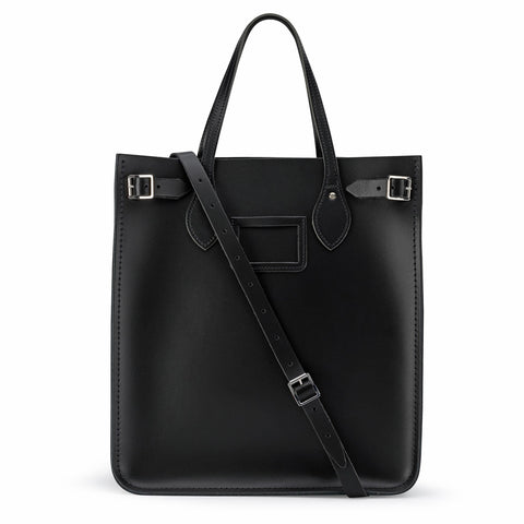 North South Tote in Leather - Black