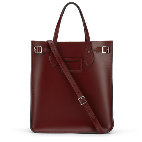 North South Tote in Leather - Oxblood