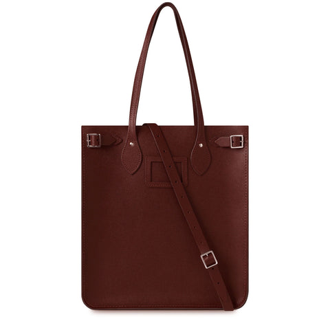 North South Tote in Saffiano Leather - Oxblood Saffiano