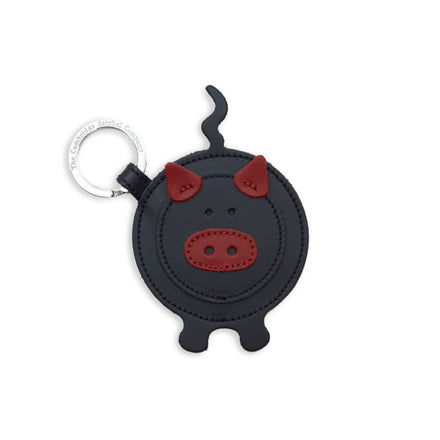 Year of the Pig Keyring Charm in Leather - Navy & Red
