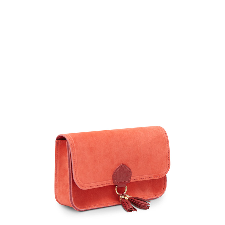 Tassel Clutch Bag - Ruby Suede