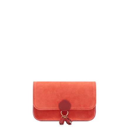 Ruby Red Cambridge Satchel Women's Suede Clutch Evening Bag