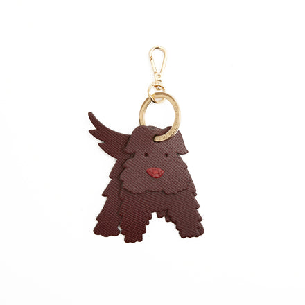 Agnes the Scottie Dog Charm in Leather - Oxblood Saffiano & Red Celtic Grain