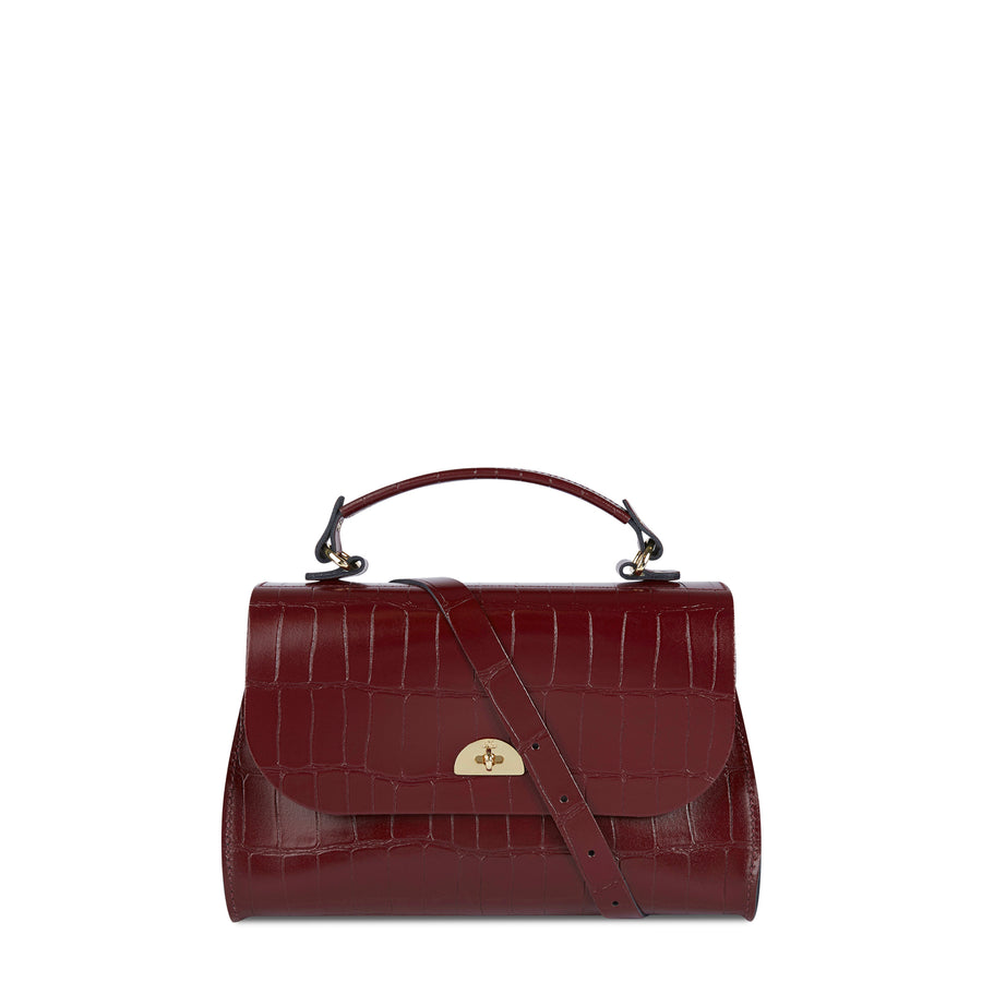 Daisy Bag in Leather - Oxblood Patent Croc