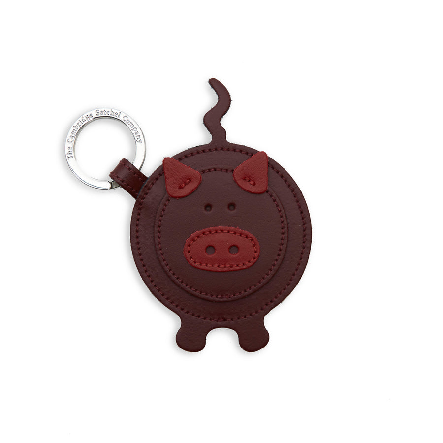 Year of the Pig Keyring in Leather - Oxblood & Red