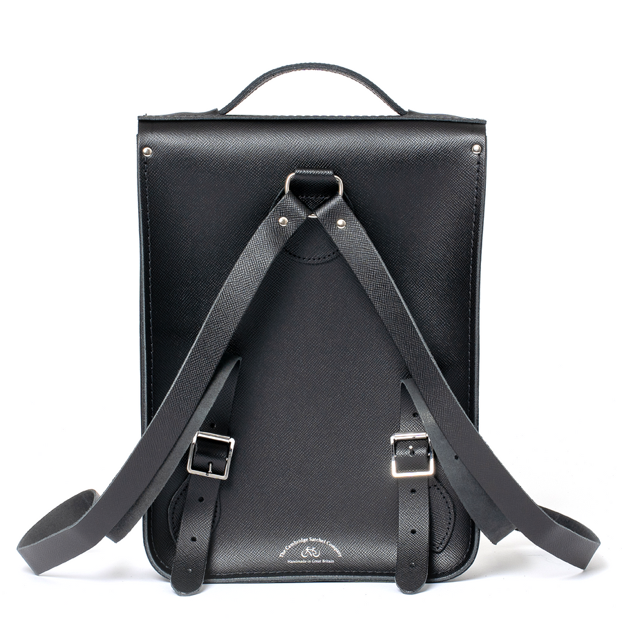 Black Cambridge Satchel Portrait Leather Backpack