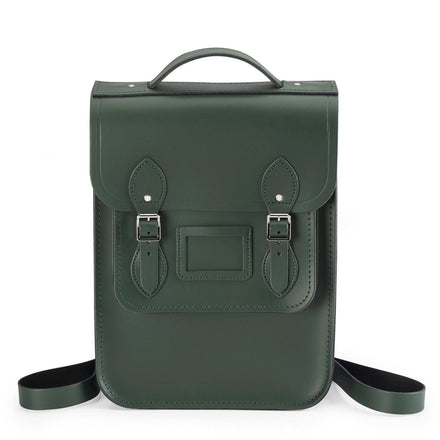 Green Cambridge Satchel Portrait Leather Backpack