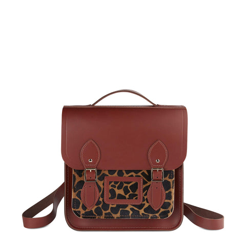 Small Portrait Backpack in Leather - Brandy & Giraffe Haircalf