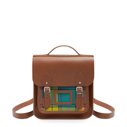 Small Portrait Backpack in Leather - Vintage with Yellow Tartan | Cambridge Satchel