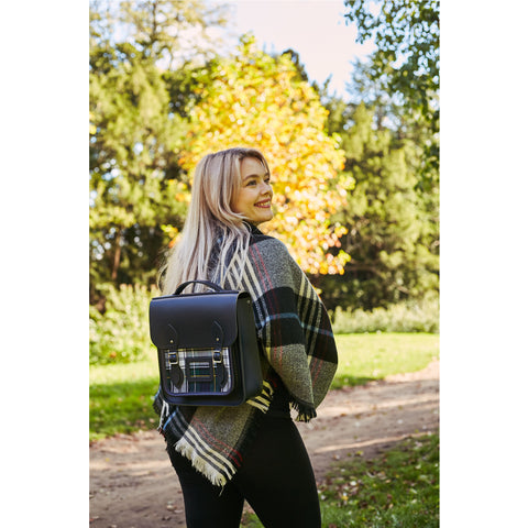Womens-Small Portrait Backpack in Leather - Navy with Green Tartan - Cambridge Satchel
