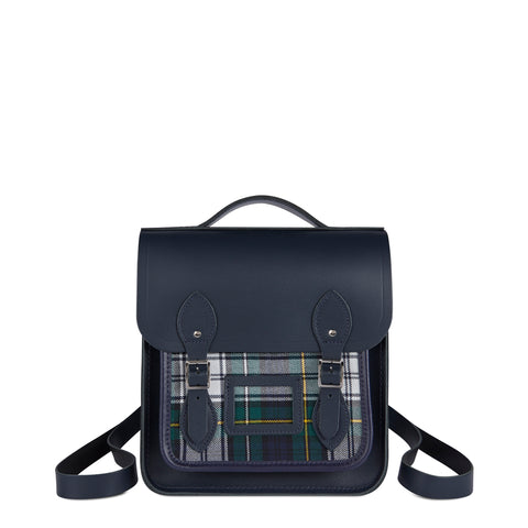 Small Portrait Backpack in Leather - Navy with Green Tartan - Cambridge Satchel