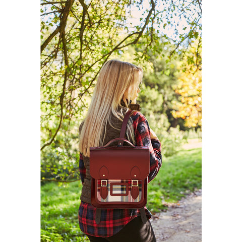 Womens- Small Portrait Backpack in Leather - Oxblood with Red Tartan