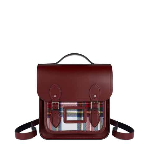 Small Portrait Backpack in Leather - Oxblood with Red Tartan