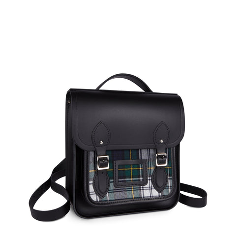 Small Portrait Backpack in Leather - Black & Black Watch Tartan