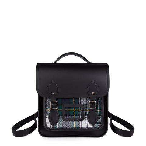 Small Portrait Backpack in Leather - Black & Black Watch Tartan - Cambridge Satchel