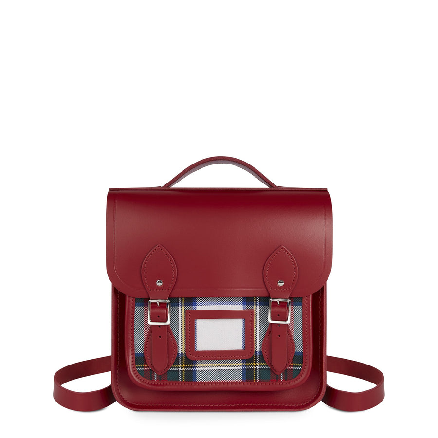 Small Portrait Backpack in Leather - Red & Red Tartan