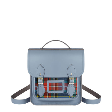 Small Portrait Backpack in Leather - French Grey with Tartan Pocket | Cambridge Satchel