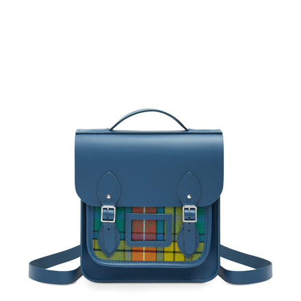 Small Portrait Backpack in Leather - Peacock with Strome Buchanan Tartan | Cambridge Satchel