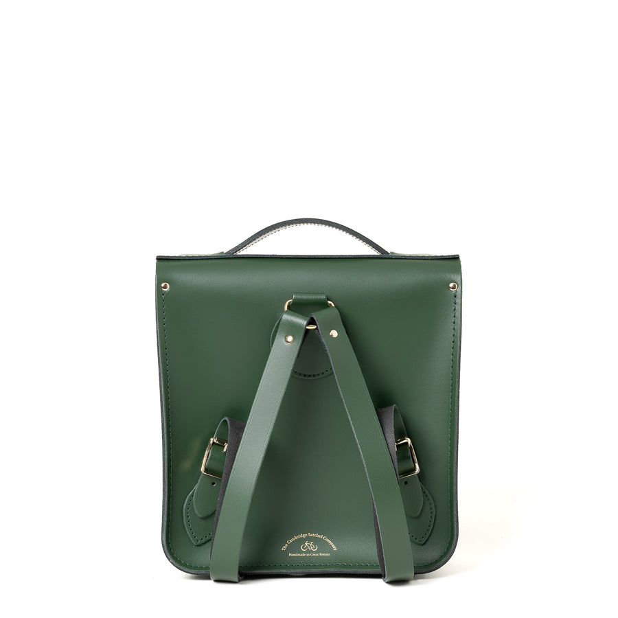 Small Portrait Backpack in Leather - Racing Green with Green Tweed