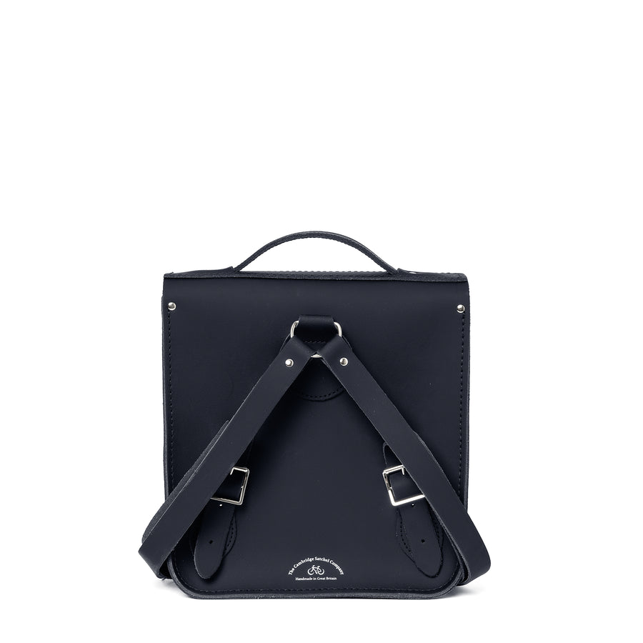 Small Portrait Backpack in Leather - Navy