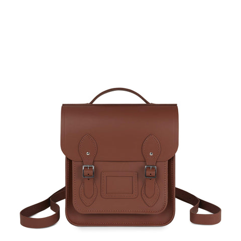 Small Portrait Backpack in Leather - Saddle