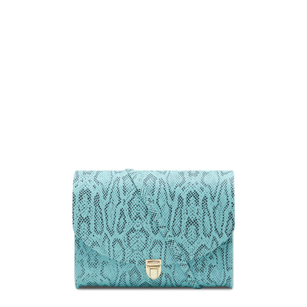 Large Push Lock in Leather - Cambridge Blue Python Print | Cambridge Satchel