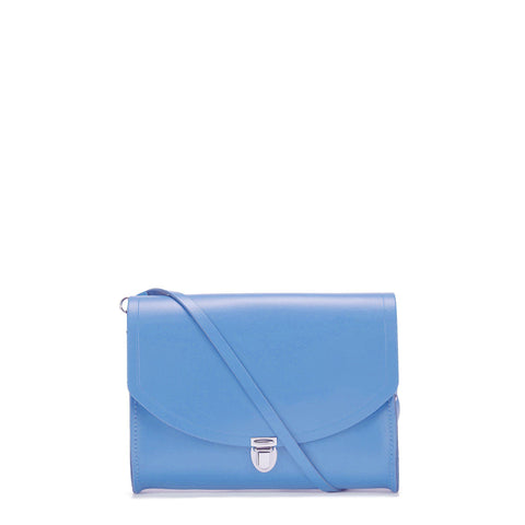 Large Push Lock in Leather - Bellflower Blue Patent