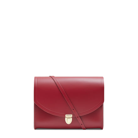 Large Push Lock in Leather - Rhubarb Red | Women's Evening Clutch Bag