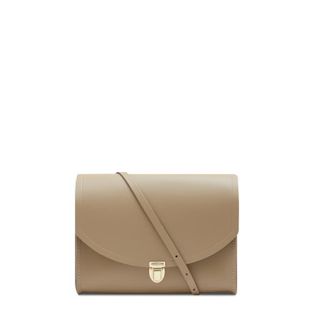 Large Push Lock in Leather - Sand | Women's Evening Clutch Bag