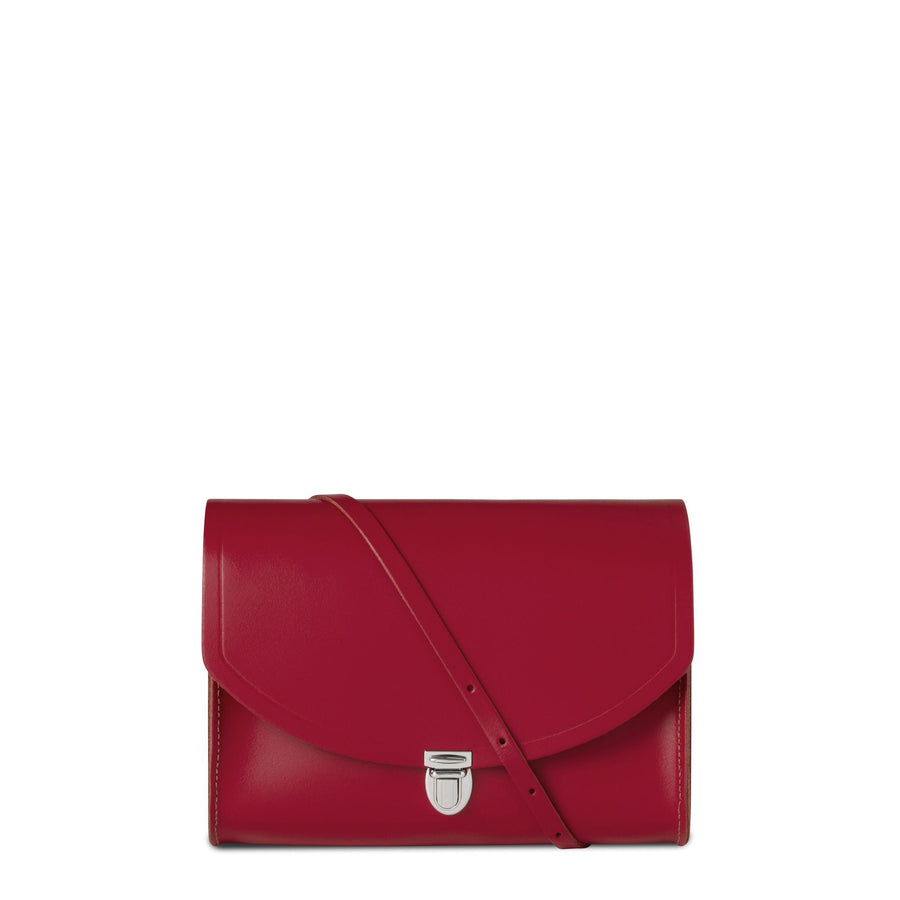 Red Cambridge Satchel Large Leather Push Lock Cross Body Bag