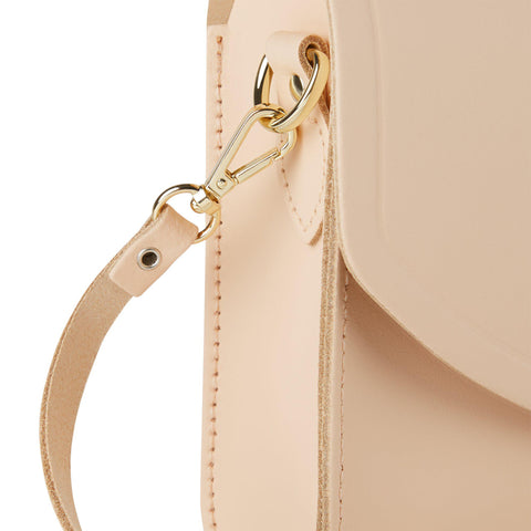 Large Push Lock in Leather - Sunkissed