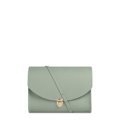 Large Push Lock in Leather - Sabi Green Saffiano