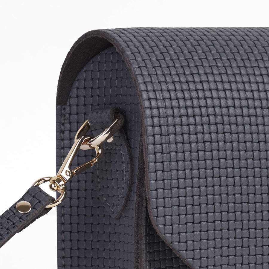 Large Push Lock in Leather - Dapple Matte Lattice