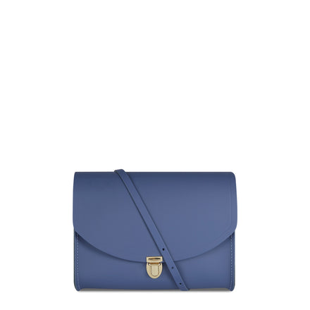 Blue Cambridge Satchel Large Leather Push Lock Cross Body Bag