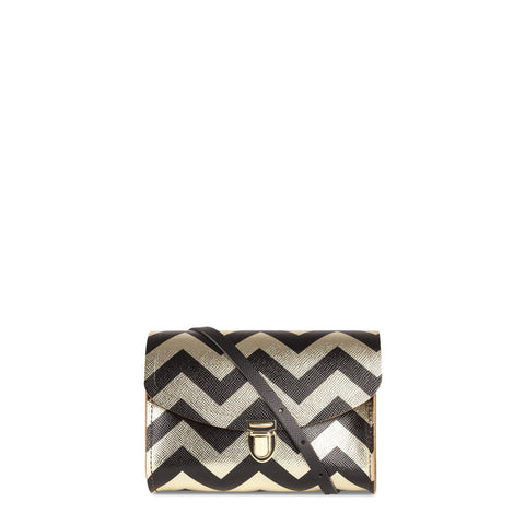 Push Lock in Leather - Black Zigzag Print on Gold