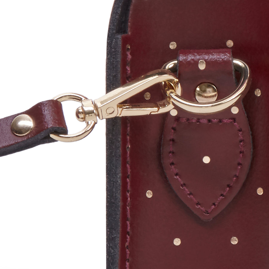 Push Lock in Leather - Gold Dot on Oxblood