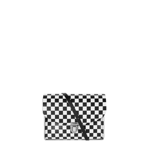 Push Lock in Leather - Black and White Checkered Print
