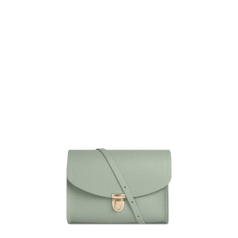 Push Lock in Leather - Sabi Green Saffiano