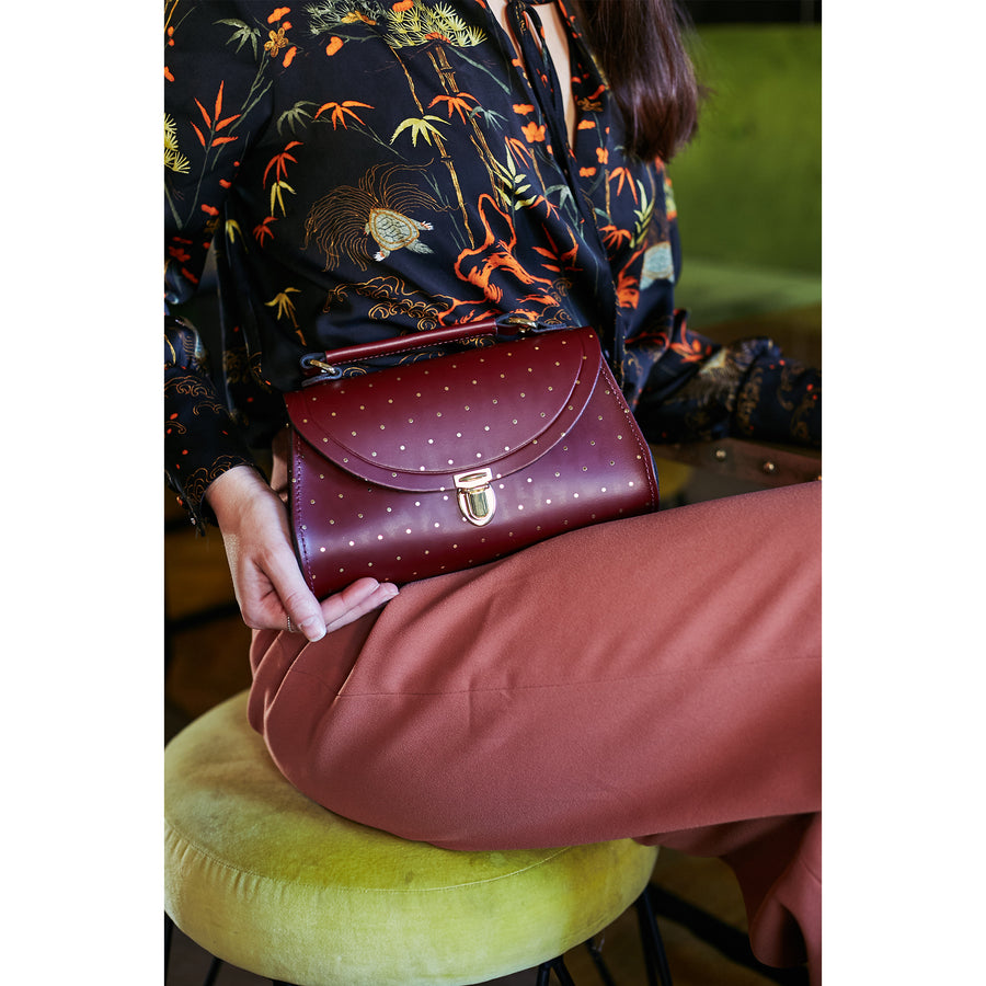 Womens - Mini Poppy Bag in Leather - Gold Dot on Oxblood - Cambridge Satchel