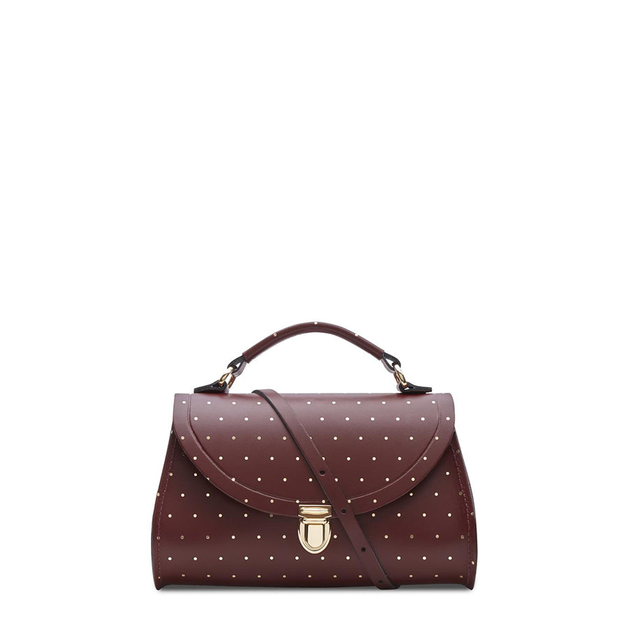 Mini Poppy Bag in Leather - Gold Dot on Oxblood - Cambridge Satchel
